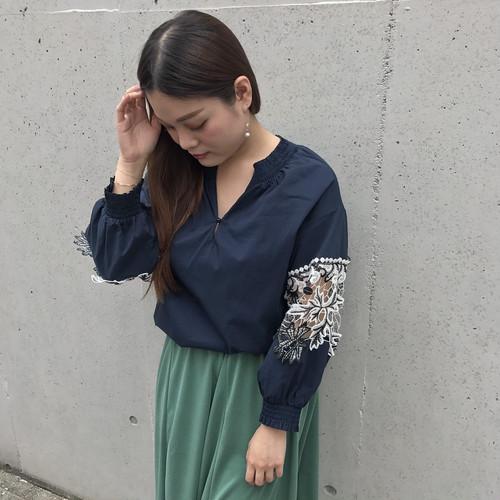 remis/袖レース切り替えシャツ