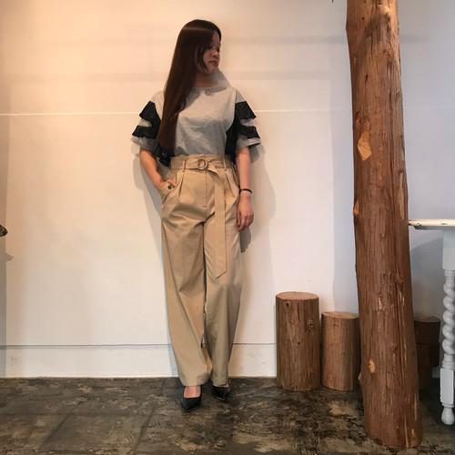 Aima+saie/ベルト付きワイドパンツ