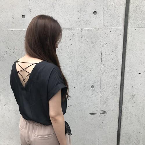 GALENA/バックレースアップTシャツ