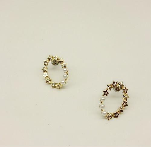 jewel casket/星×パールリングピアス
