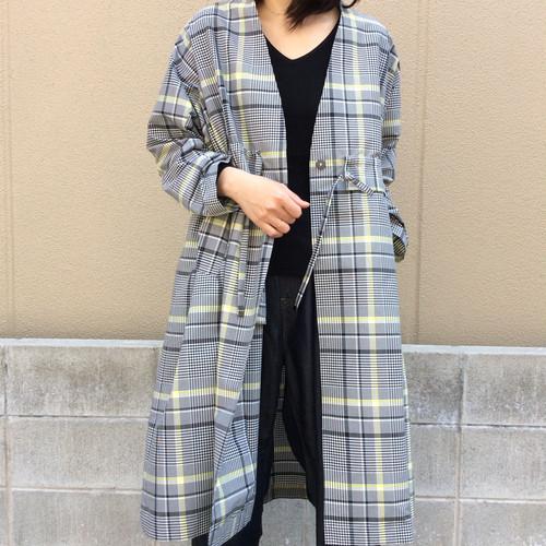 Lallia Mu/袖ギャザーチェックコート